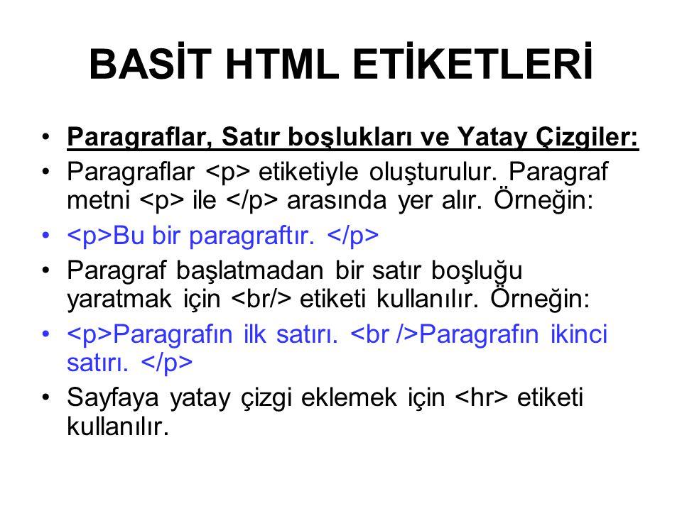 BASİT HTML ETİKETLERİ Paragraflar, Satır boşlukları ve Yatay Çizgiler: