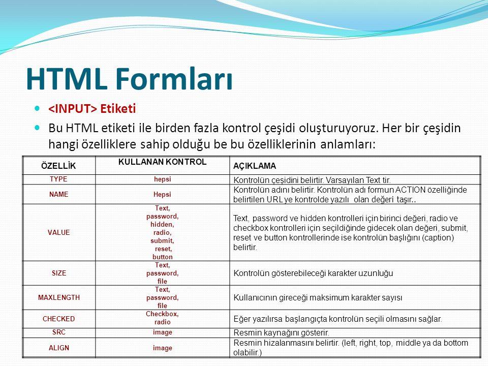 HTML Formları <INPUT> Etiketi