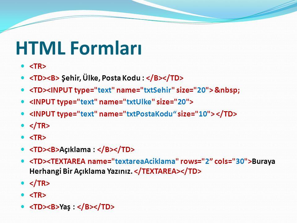 HTML Formları <TR>