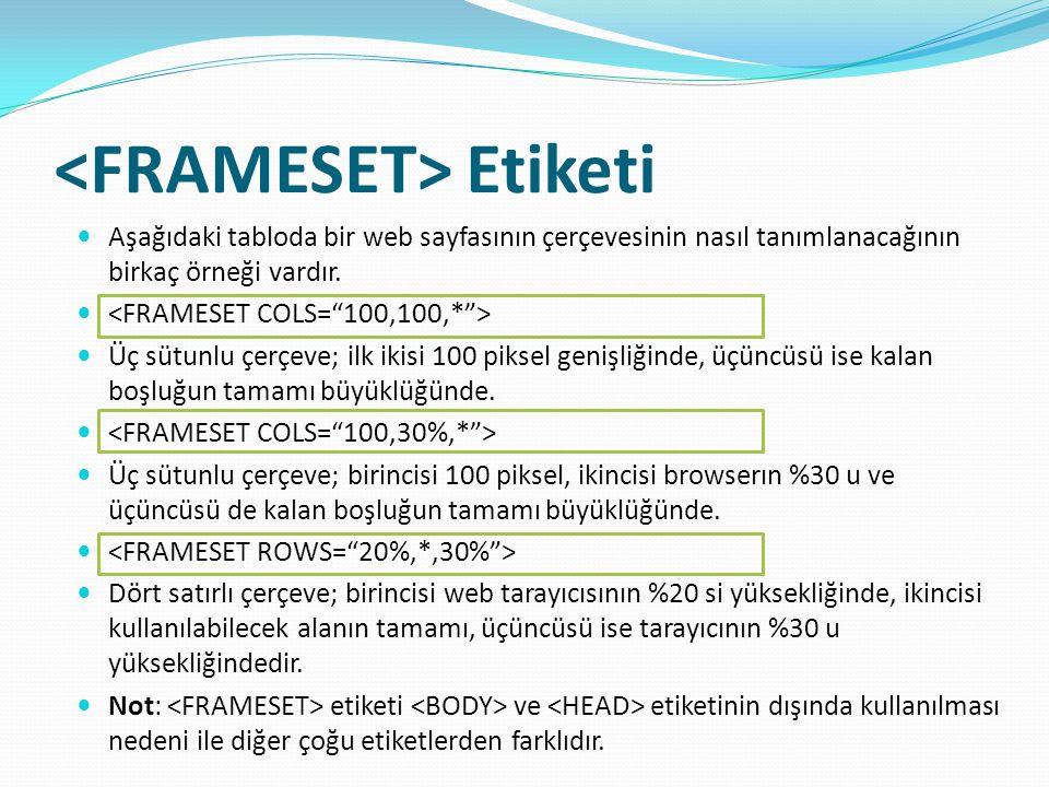 <FRAMESET> Etiketi