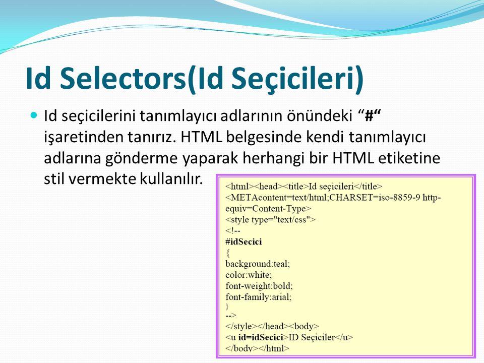 Id Selectors(Id Seçicileri)