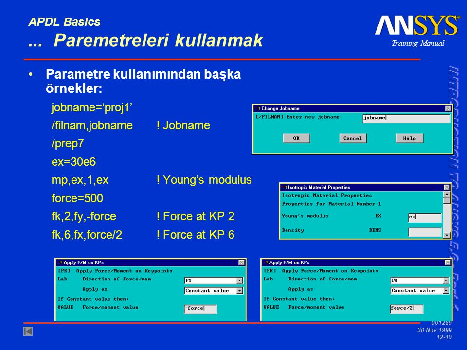 APDL Basics ... Paremetreleri kullanmak