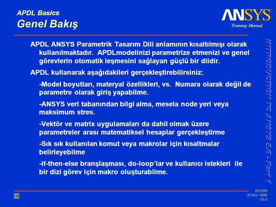 APDL Basics Genel Bakış