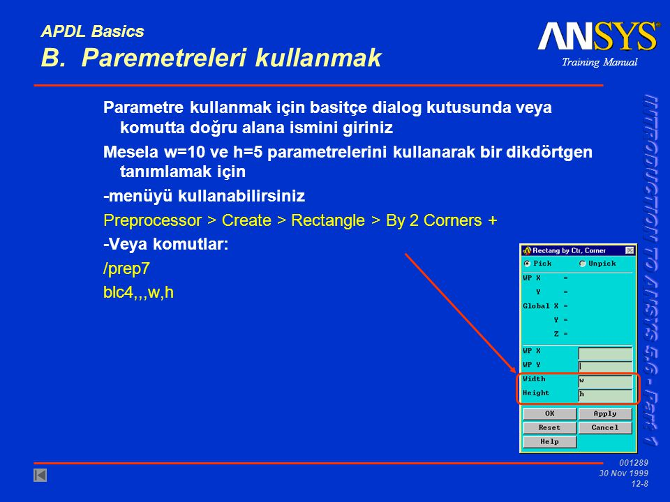 APDL Basics B. Paremetreleri kullanmak