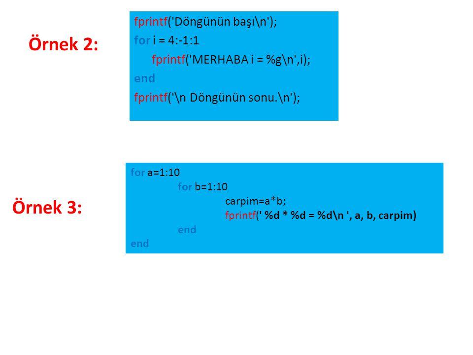 fprintf( Döngünün başı\n ); for i = 4:-1:1 fprintf( MERHABA i = %g\n ,i); end fprintf( \n Döngünün sonu.\n );