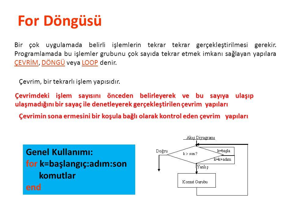 For Döngüsü Genel Kullanımı: for k=başlangıç:adım:son komutlar end