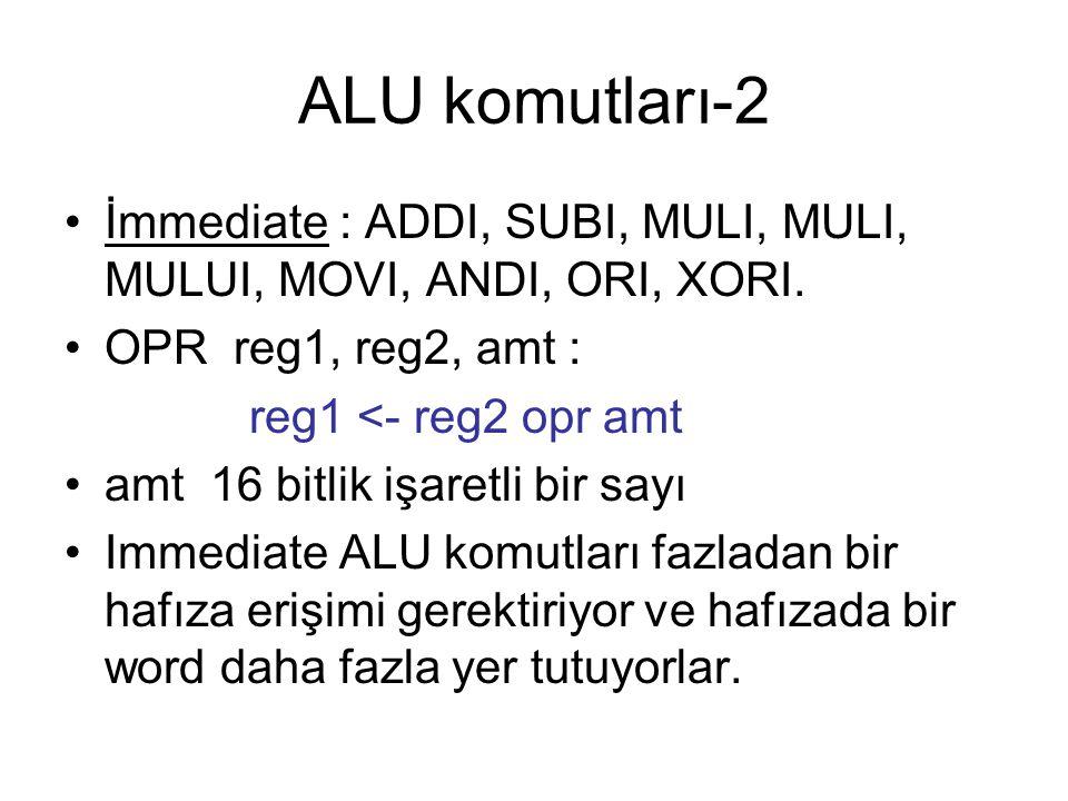 ALU komutları-2 İmmediate : ADDI, SUBI, MULI, MULI, MULUI, MOVI, ANDI, ORI, XORI. OPR reg1, reg2, amt :