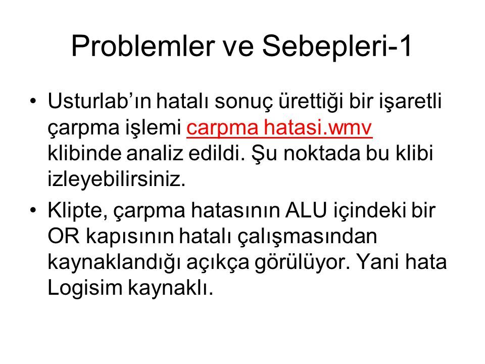 Problemler ve Sebepleri-1
