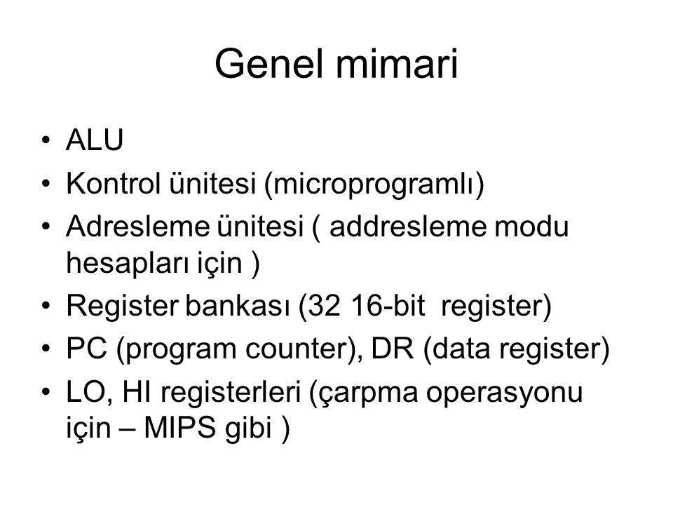 Genel mimari ALU Kontrol ünitesi (microprogramlı)