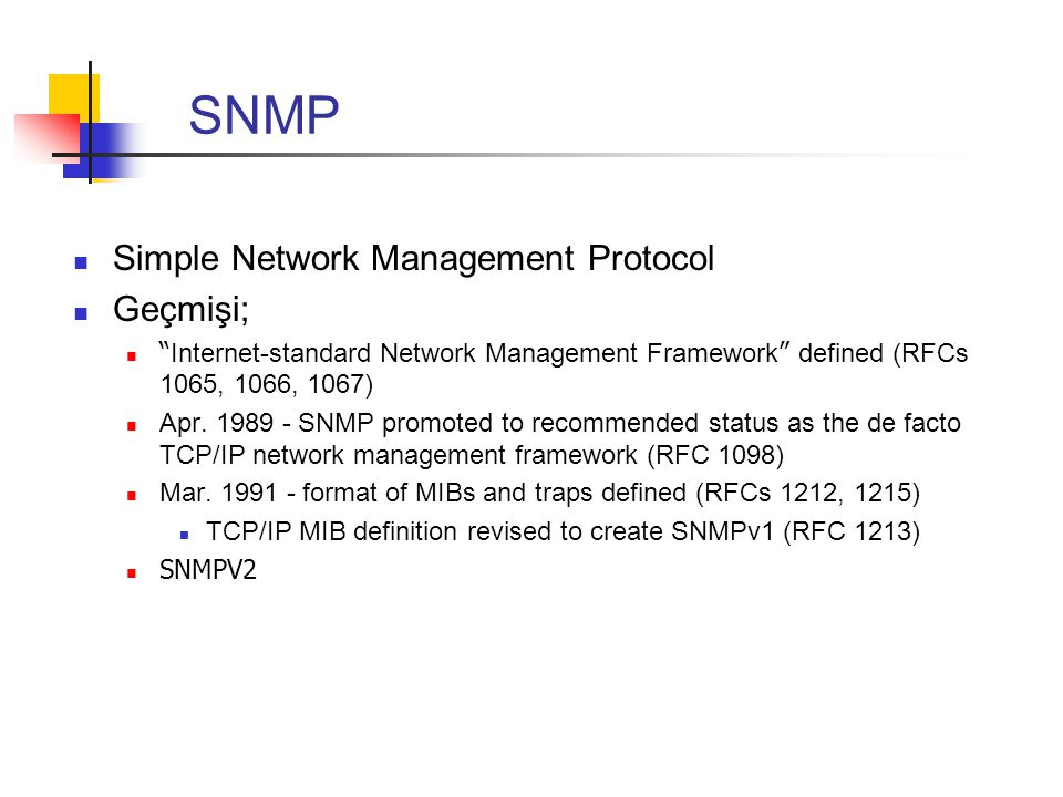 SNMP Simple Network Management Protocol Geçmişi;