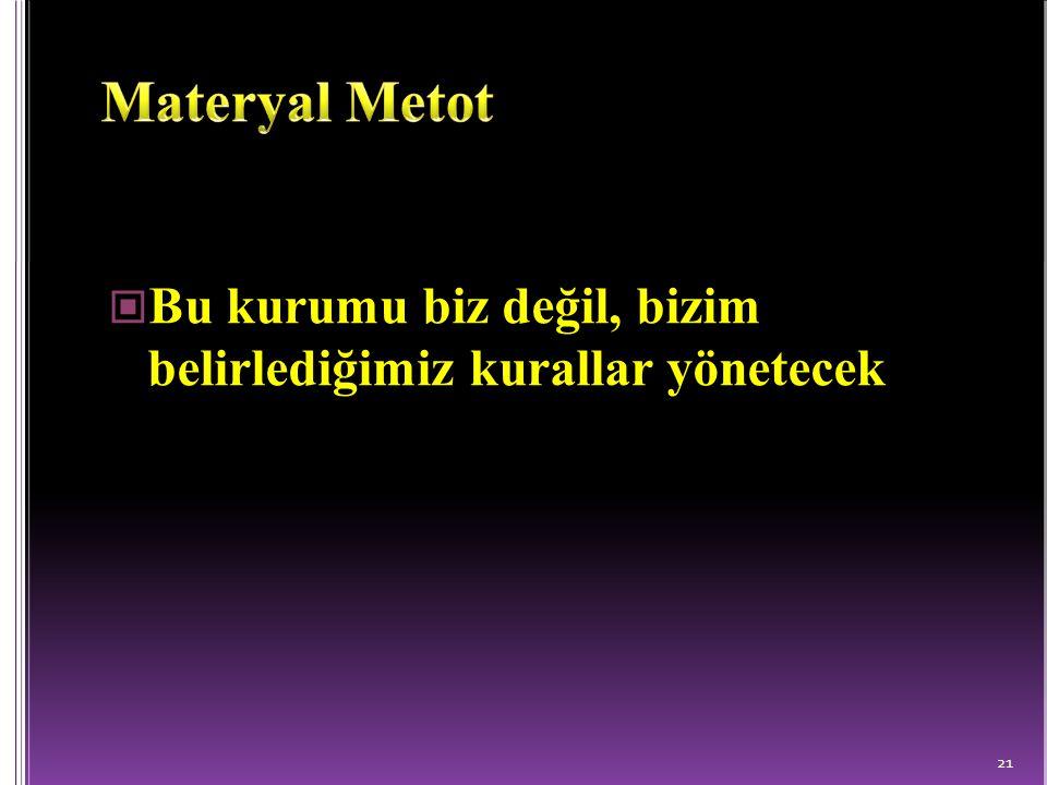 Materyal Metot Bu kurumu biz değil, bizim belirlediğimiz kurallar yönetecek.