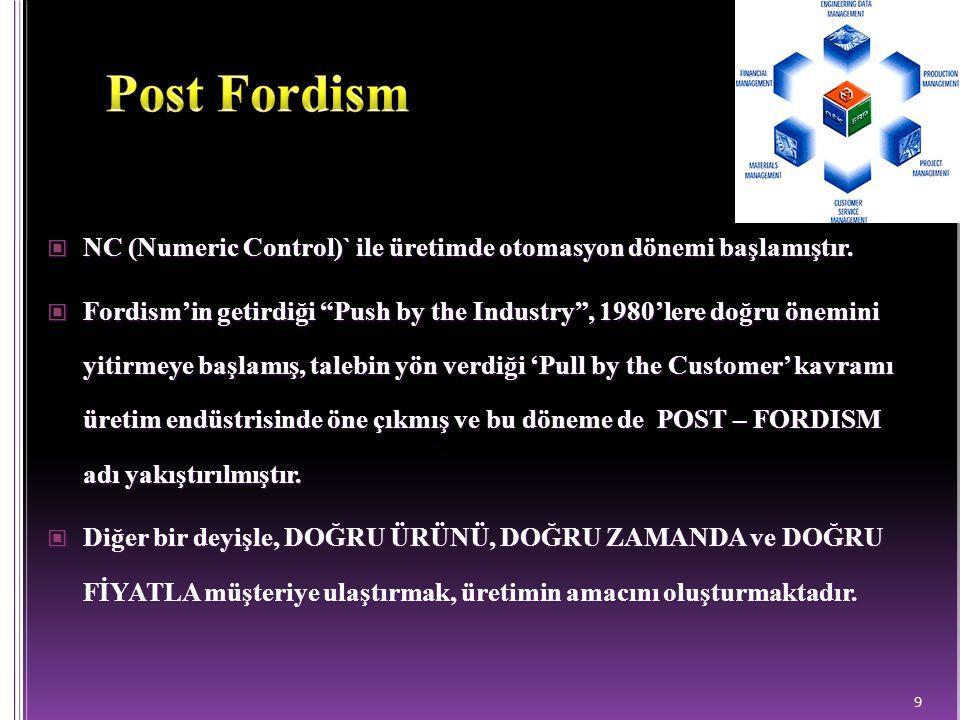 Post Fordism NC (Numeric Control)` ile üretimde otomasyon dönemi başlamıştır.