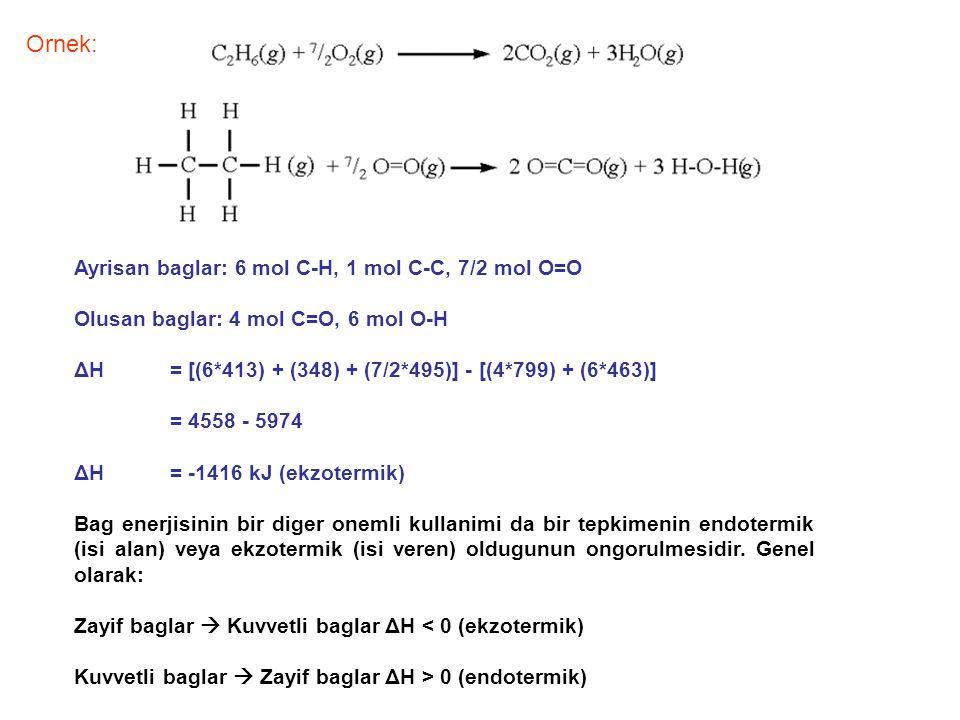 Ornek: Ayrisan baglar: 6 mol C-H, 1 mol C-C, 7/2 mol O=O