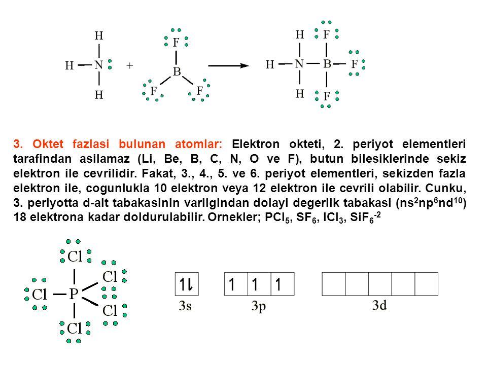 3. Oktet fazlasi bulunan atomlar: Elektron okteti, 2