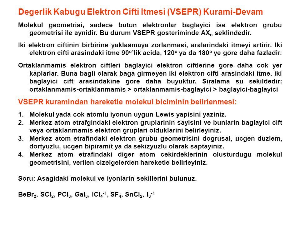 Degerlik Kabugu Elektron Cifti Itmesi (VSEPR) Kurami-Devam