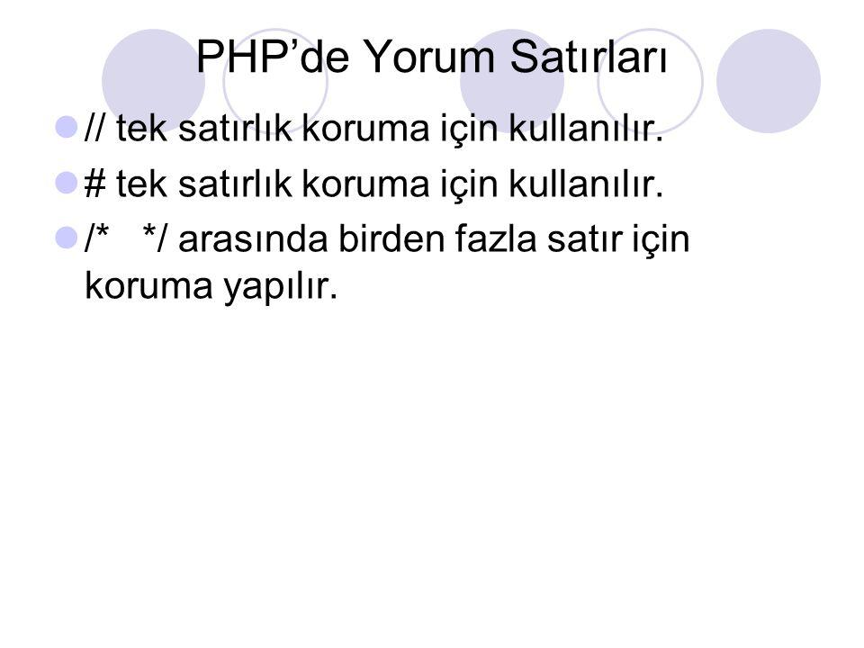PHP'de Yorum Satırları