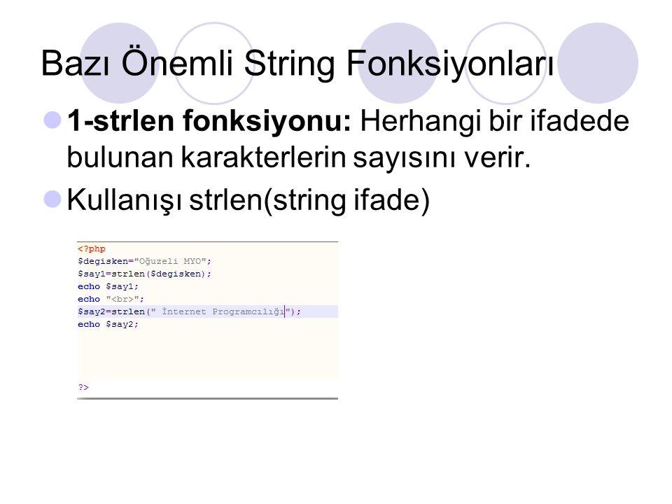 Bazı Önemli String Fonksiyonları