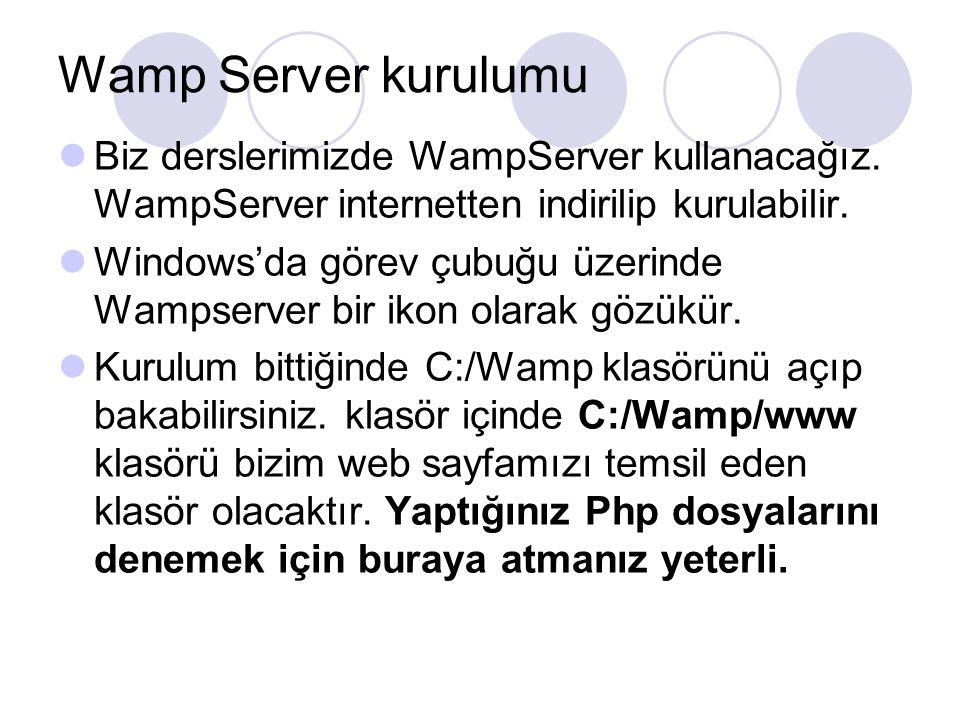 Wamp Server kurulumu Biz derslerimizde WampServer kullanacağız. WampServer internetten indirilip kurulabilir.