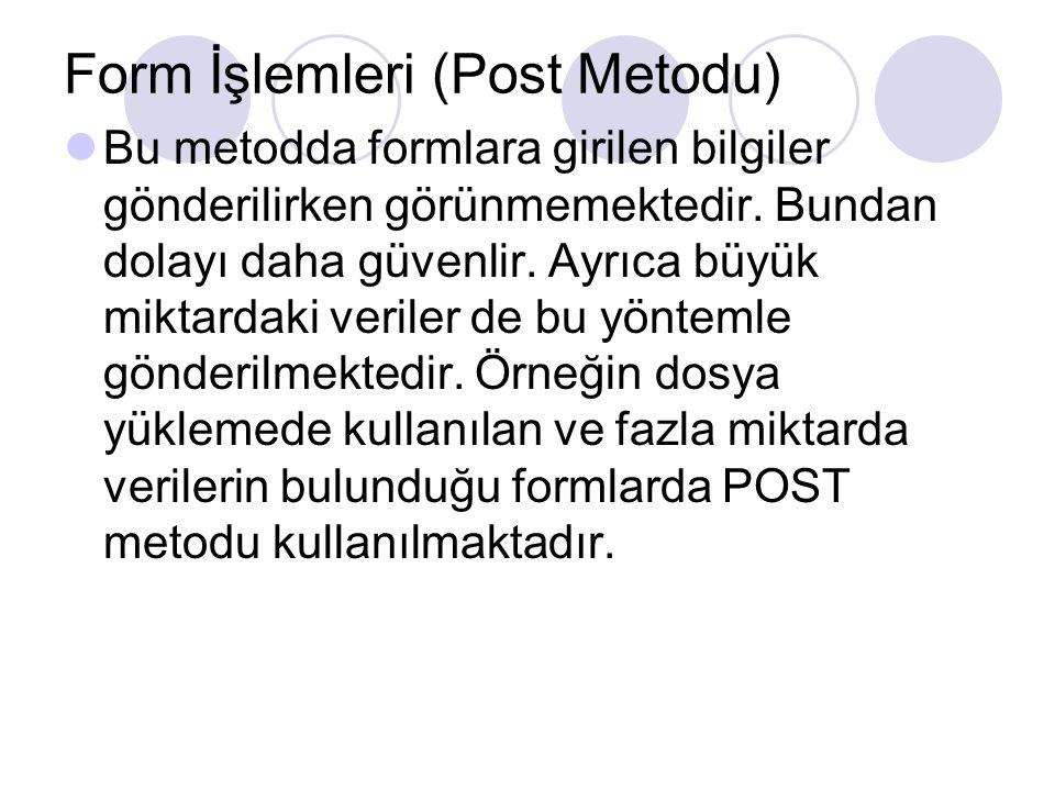 Form İşlemleri (Post Metodu)