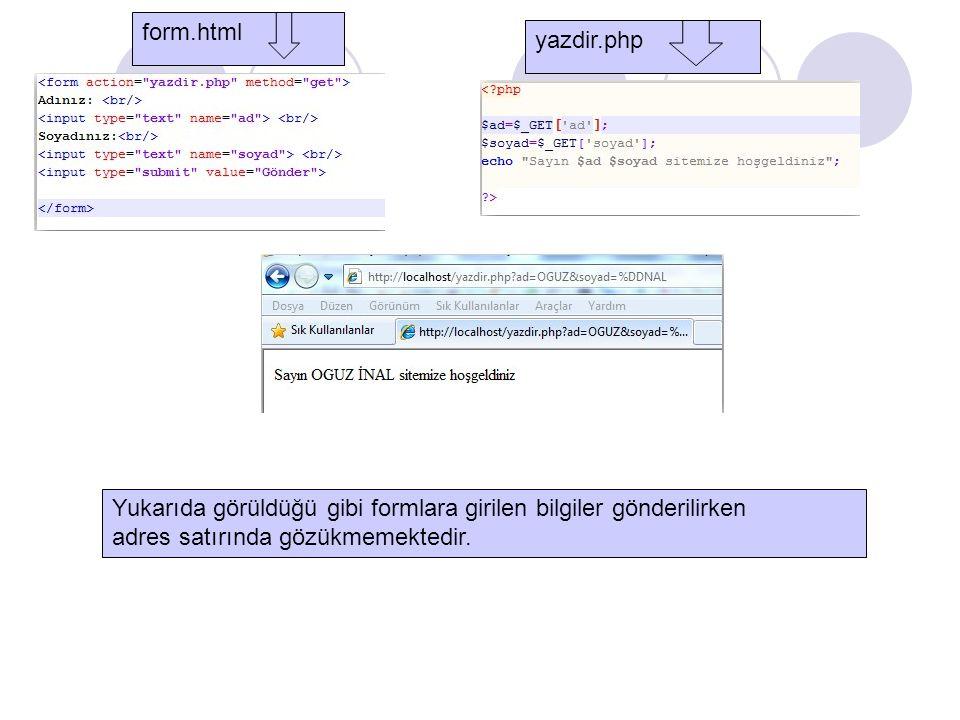 form.html yazdir.php. Yukarıda görüldüğü gibi formlara girilen bilgiler gönderilirken.