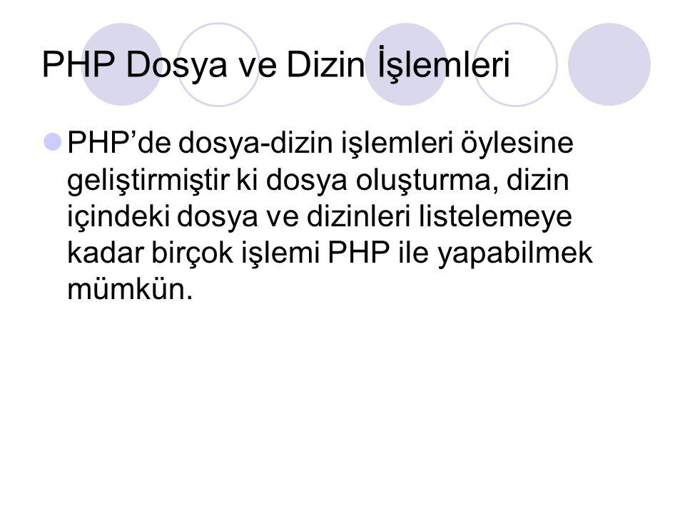 PHP Dosya ve Dizin İşlemleri