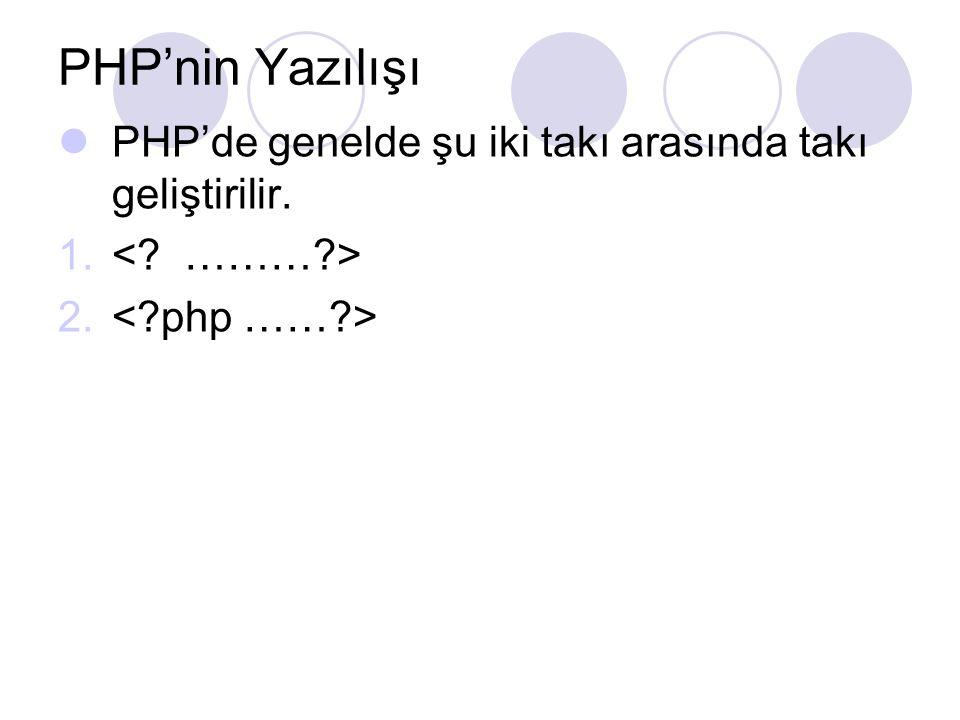 PHP'nin Yazılışı PHP'de genelde şu iki takı arasında takı geliştirilir. < ……… > < php …… >