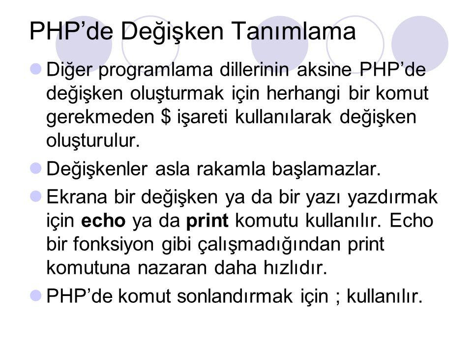 PHP'de Değişken Tanımlama