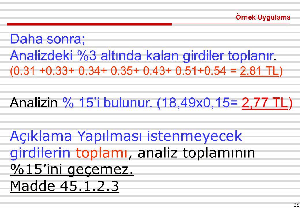 Analizin % 15'i bulunur. (18,49x0,15= 2,77 TL)