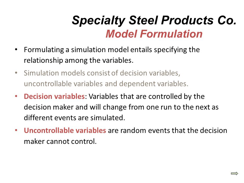 Specialty Steel Products Co. Model Formulation