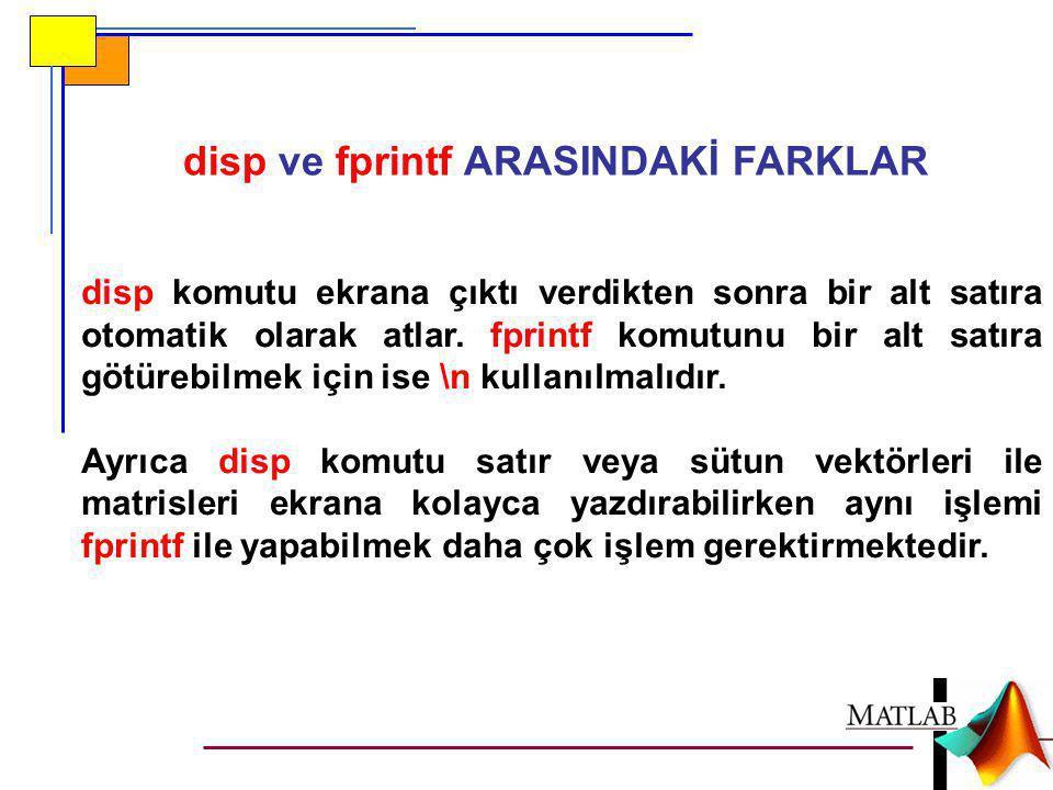 disp ve fprintf ARASINDAKİ FARKLAR