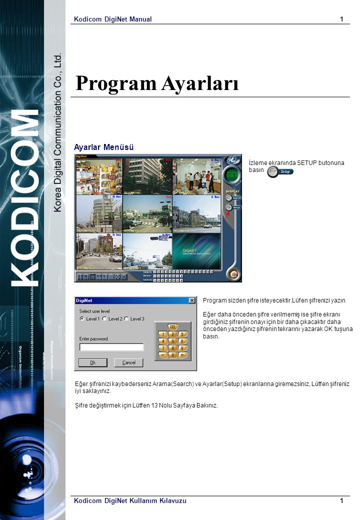 Program Ayarları Ayarlar Menüsü Kodicom DigiNet Manual 1