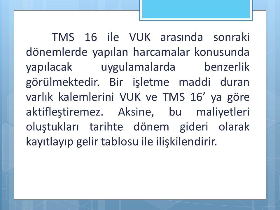 TMS 16 ile VUK arasında sonraki dönemlerde yapılan harcamalar konusunda yapılacak uygulamalarda benzerlik görülmektedir.