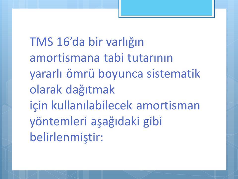 TMS 16'da bir varlığın amortismana tabi tutarının yararlı ömrü boyunca sistematik olarak dağıtmak için kullanılabilecek amortisman yöntemleri aşağıdaki gibi belirlenmiştir: