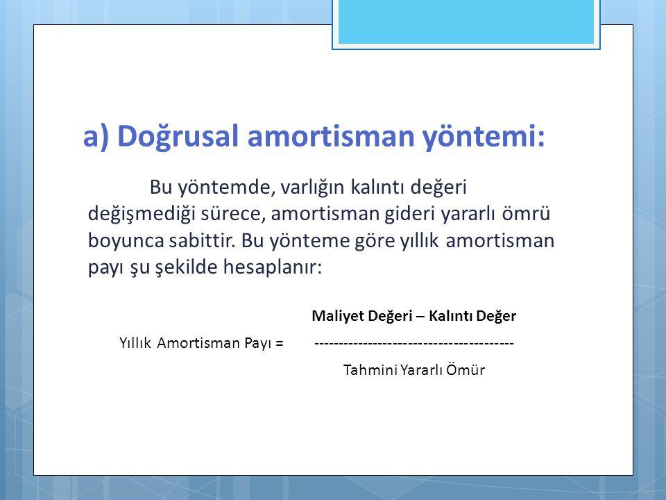 a) Doğrusal amortisman yöntemi: