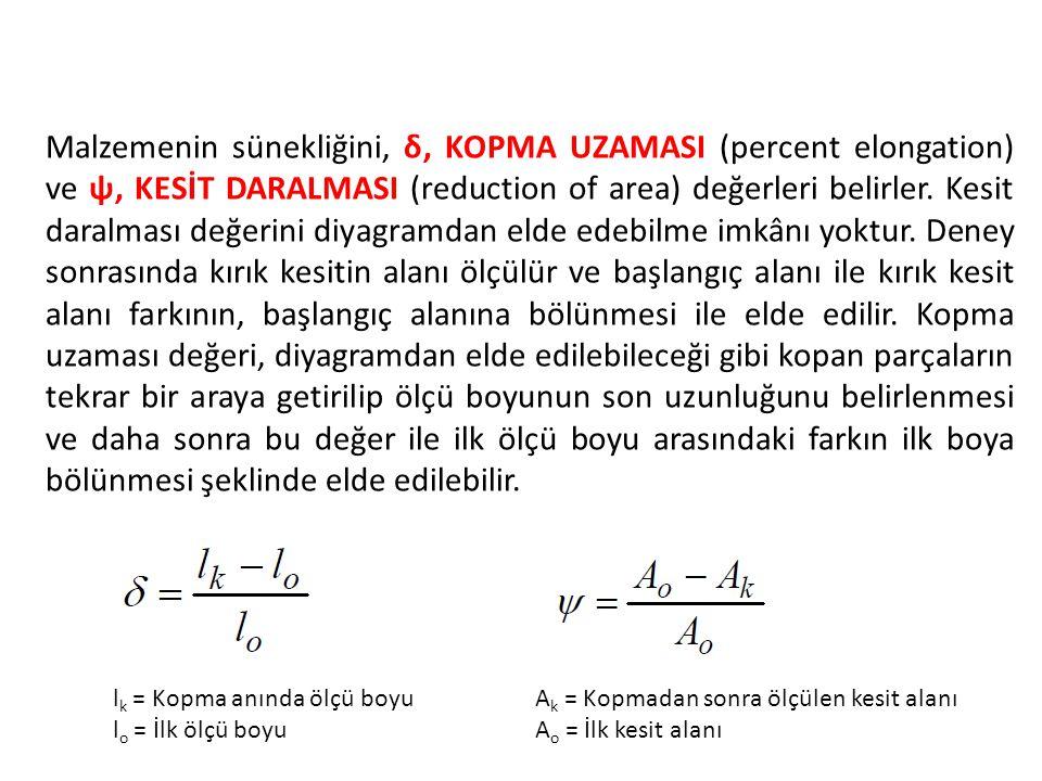 Malzemenin sünekliğini, δ, KOPMA UZAMASI (percent elongation) ve ψ, KESİT DARALMASI (reduction of area) değerleri belirler. Kesit daralması değerini diyagramdan elde edebilme imkânı yoktur. Deney sonrasında kırık kesitin alanı ölçülür ve başlangıç alanı ile kırık kesit alanı farkının, başlangıç alanına bölünmesi ile elde edilir. Kopma uzaması değeri, diyagramdan elde edilebileceği gibi kopan parçaların tekrar bir araya getirilip ölçü boyunun son uzunluğunu belirlenmesi ve daha sonra bu değer ile ilk ölçü boyu arasındaki farkın ilk boya bölünmesi şeklinde elde edilebilir.