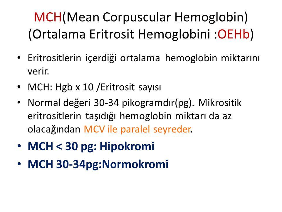 MCH(Mean Corpuscular Hemoglobin) (Ortalama Eritrosit Hemoglobini :OEHb)