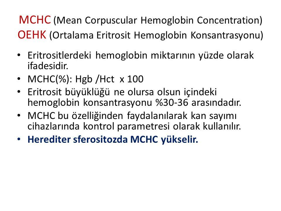MCHC (Mean Corpuscular Hemoglobin Concentration) OEHK (Ortalama Eritrosit Hemoglobin Konsantrasyonu)