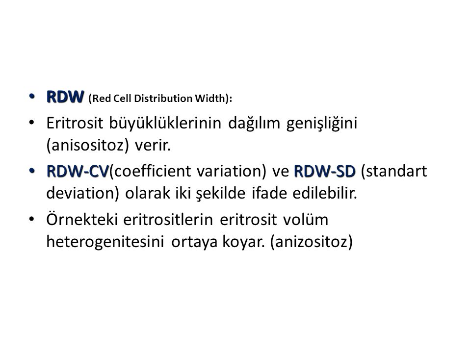 RDW (Red Cell Distribution Width):
