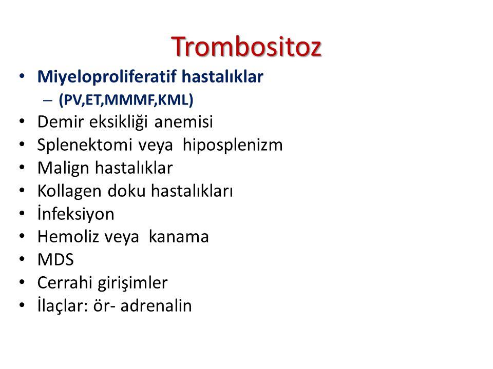 Trombositoz Miyeloproliferatif hastalıklar Demir eksikliği anemisi