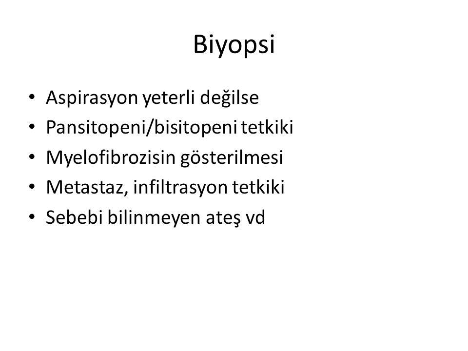 Biyopsi Aspirasyon yeterli değilse Pansitopeni/bisitopeni tetkiki