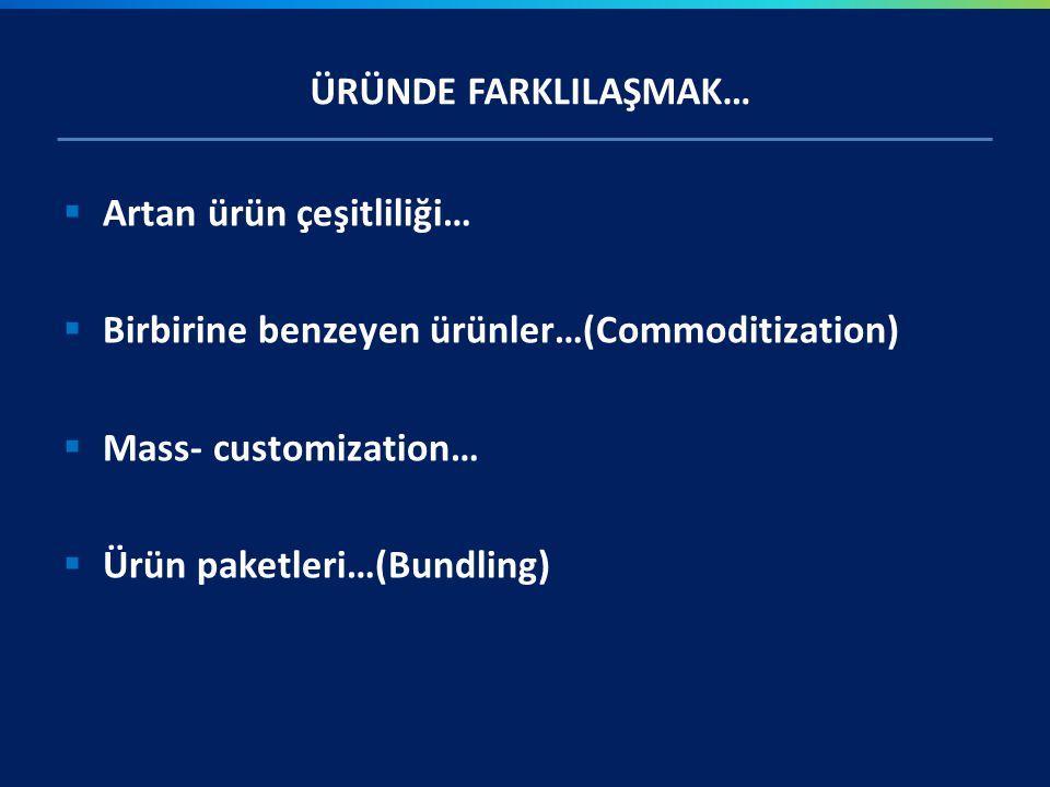 ÜRÜNDE FARKLILAŞMAK… Artan ürün çeşitliliği… Birbirine benzeyen ürünler…(Commoditization) Mass- customization…