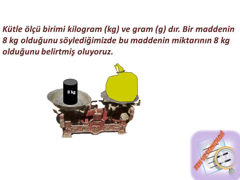 Kütle ölçü birimi kilogram (kg) ve gram (g) dır