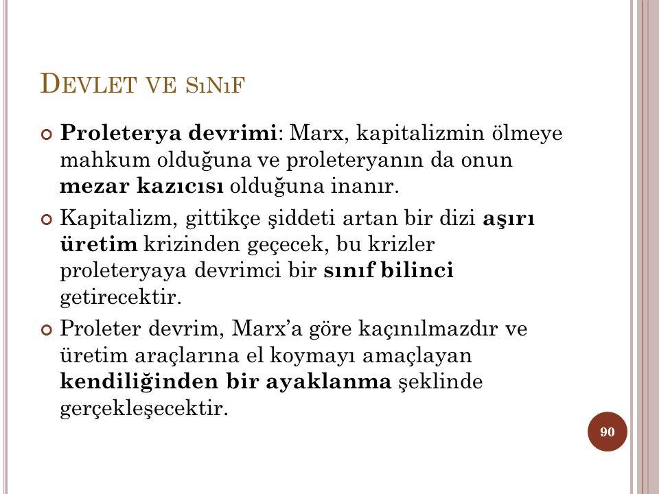 Devlet ve sınıf Proleterya devrimi: Marx, kapitalizmin ölmeye mahkum olduğuna ve proleteryanın da onun mezar kazıcısı olduğuna inanır.