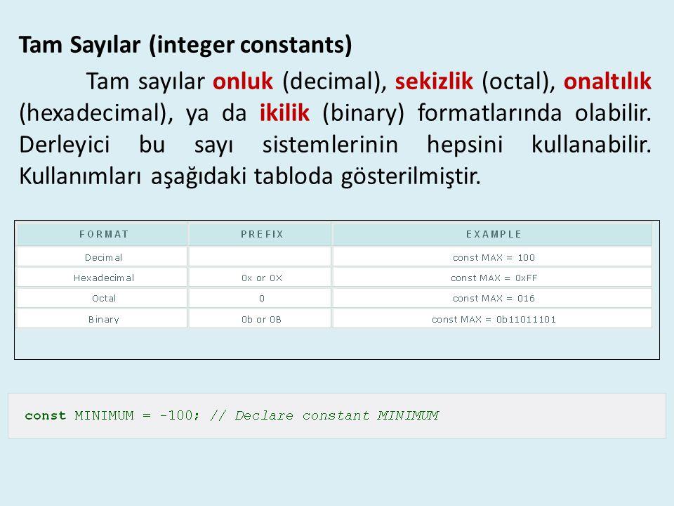 Tam Sayılar (integer constants)