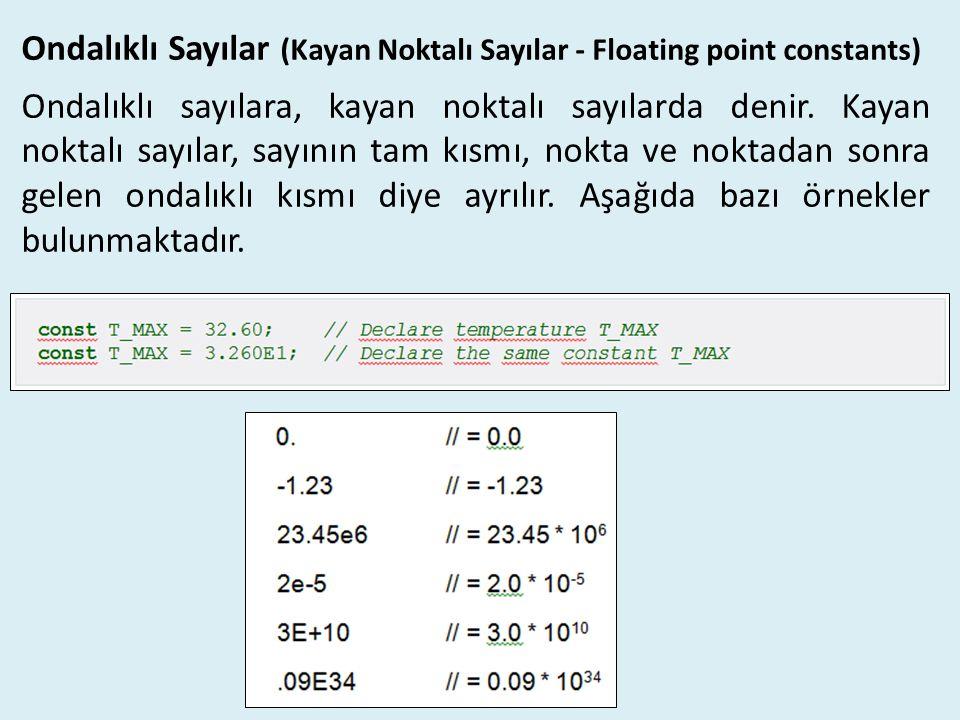 Ondalıklı Sayılar (Kayan Noktalı Sayılar - Floating point constants)