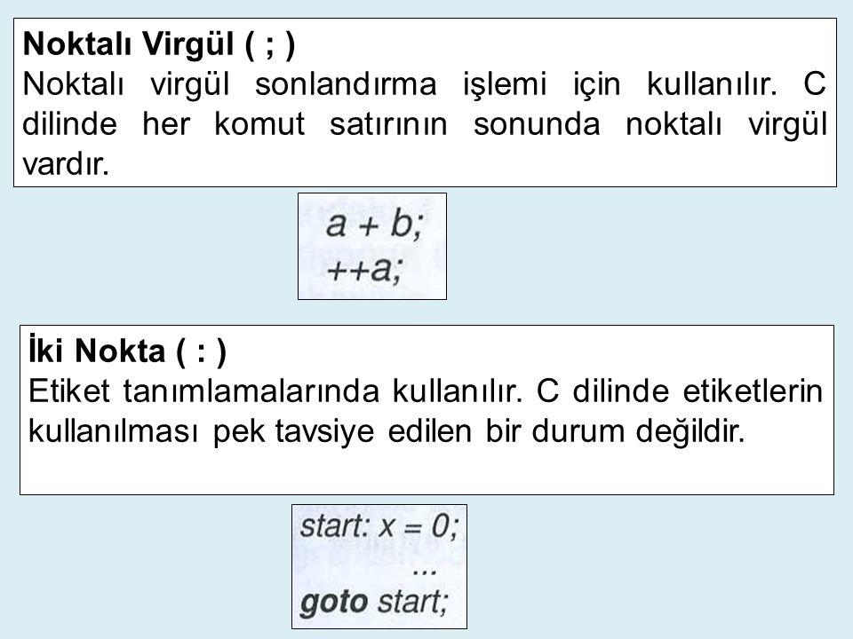 Noktalı Virgül ( ; ) Noktalı virgül sonlandırma işlemi için kullanılır. C dilinde her komut satırının sonunda noktalı virgül vardır.