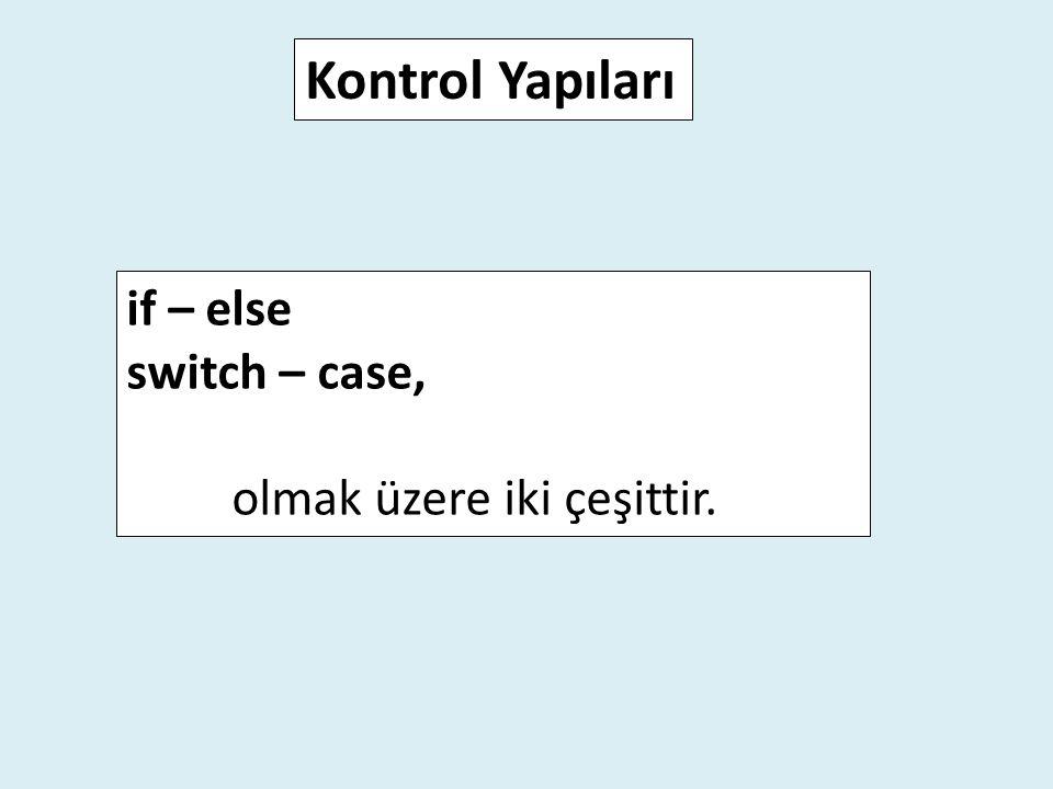 Kontrol Yapıları if – else switch – case, olmak üzere iki çeşittir.