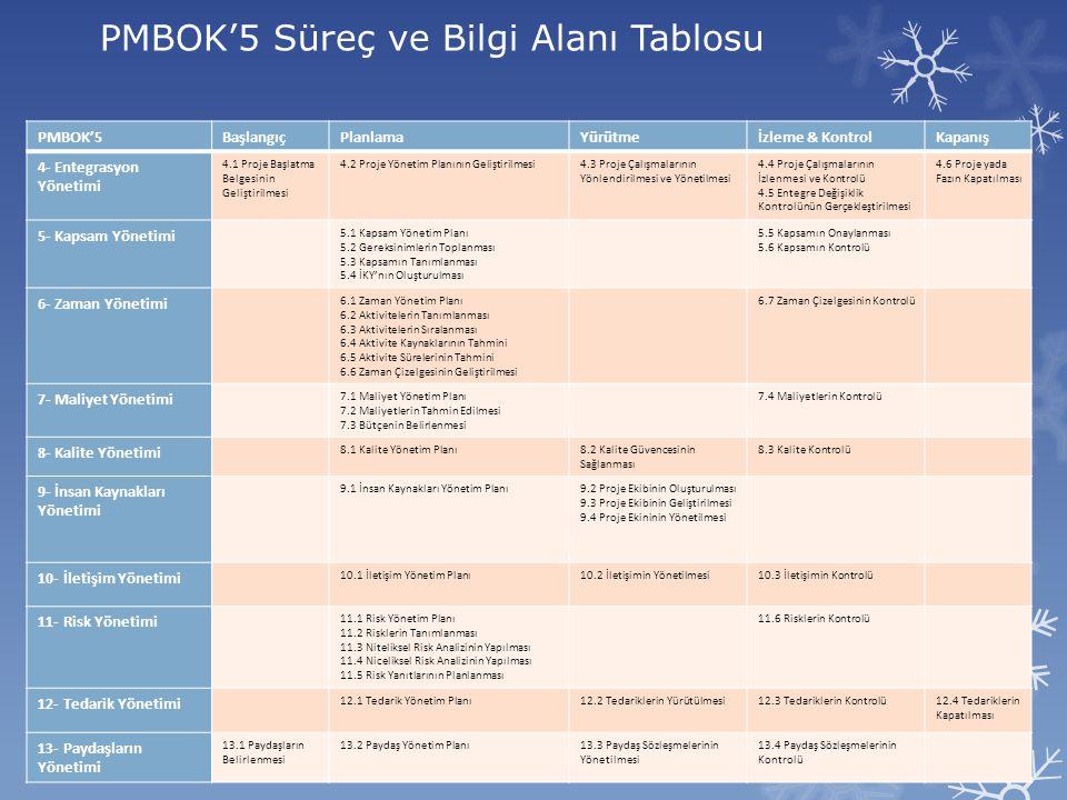 PMBOK'5 Süreç ve Bilgi Alanı Tablosu