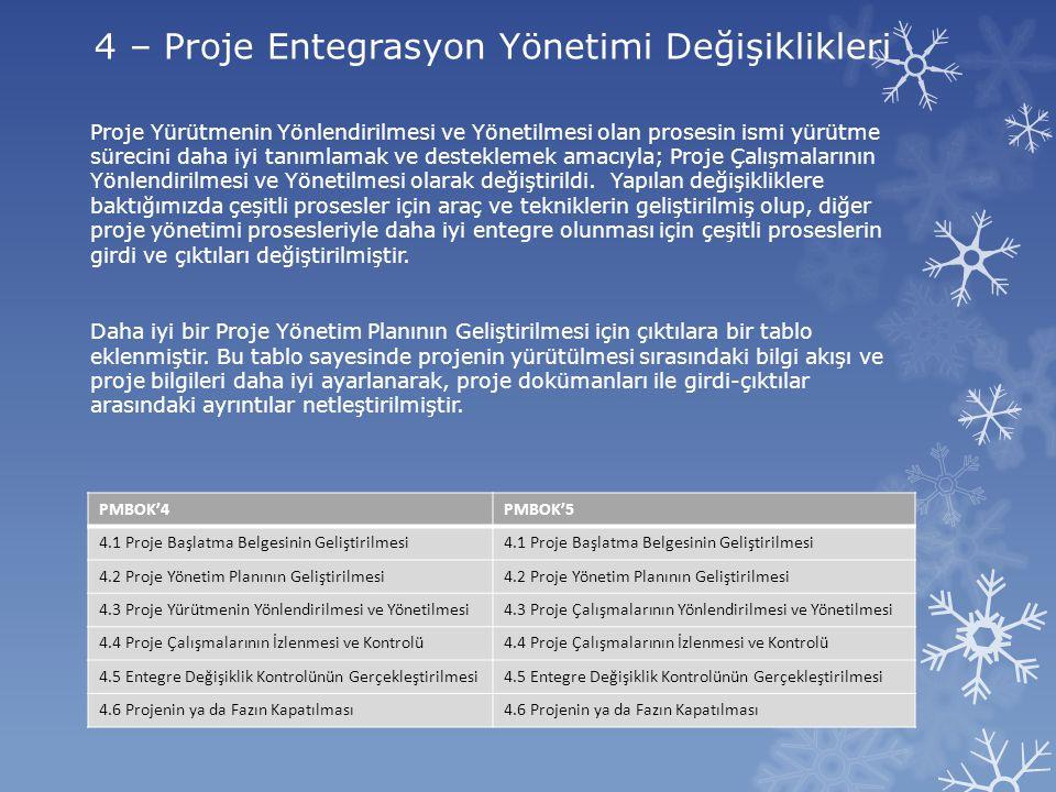 4 – Proje Entegrasyon Yönetimi Değişiklikleri