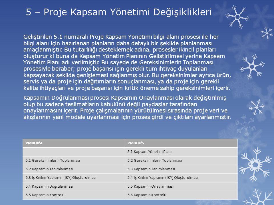 5 – Proje Kapsam Yönetimi Değişiklikleri
